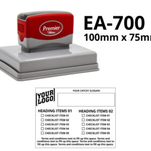 A large pre-inked rubber stamp 100mm x 75mm in size.