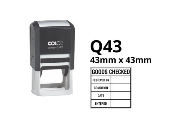 A custom rubber stamp that is 43mm x 43mm for a variety of sections. Goods Checked, Received By, Condition, Date, Entered