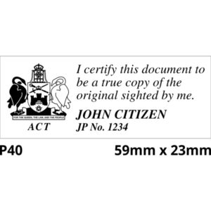 ACT Justice of the Peace Stamps