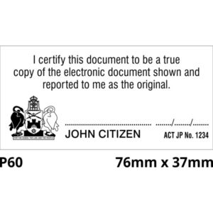 Justice of the peace rubber stamp. Australian Capital Territory