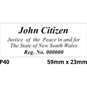 A Colop Printer 40 rubber stamp for Justice of the Peace New South Wales
