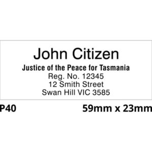 A Justice Of The Peace rubber stamp. (Tasmania)
