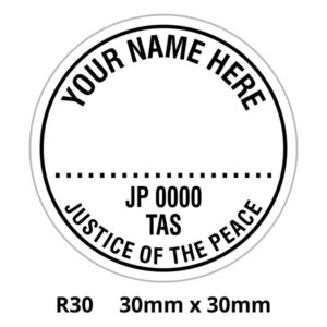 A Colop round 30 self inking rubber stamp for Tasmania