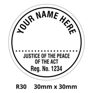 A Justice of the Peace round stamp for the ACT