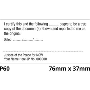 Justice of the peace stamp NSW