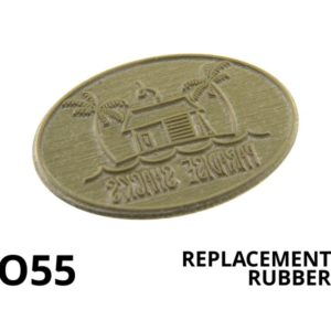 An oval replacement rubber stamp.