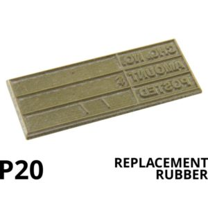 A replacement rubber for a stamp.