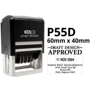 A colop Printer 55 Dater self inking rubber stamp. Custom designed for your business.