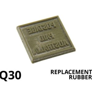 A laser engraved replacement rubber for a square self inking rubber stamp.