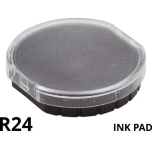 A round replacement ink pade for a R24 self inking rubber stamp.