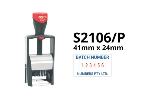 A self inking custom number stamp with a blue and red ink option.