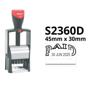 A large self inking date stamp with custom text top and bottom.