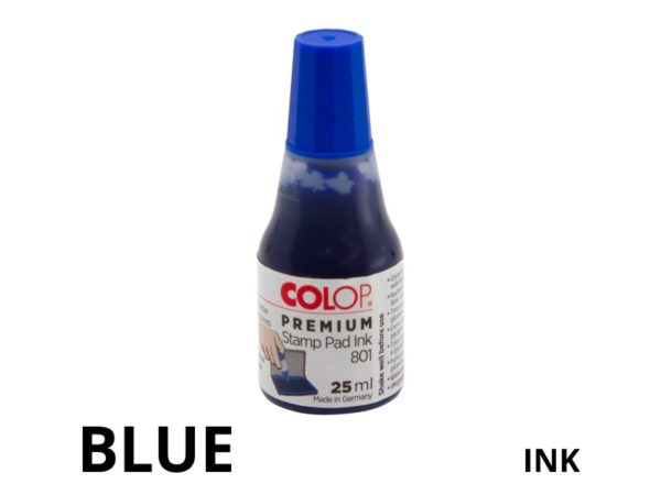 Blue coloured replacement stamp pad ink.