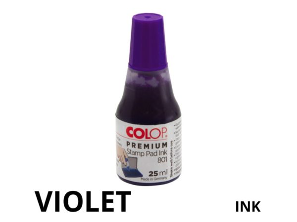 Violet coloured replacement stamp pad ink.