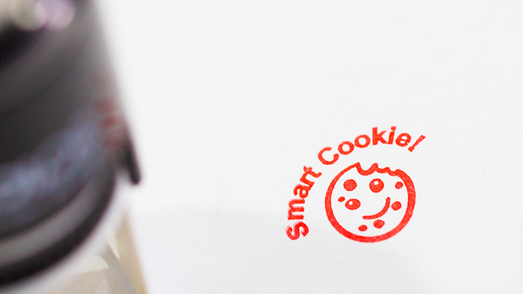 A smart cookie cute encouragement stamp in red.
